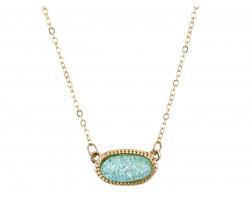 Aqua Druzy Oval Pendant Gold Edge Necklace
