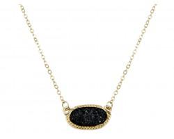 Black Druzy Oval Pendant Gold Edge Necklace