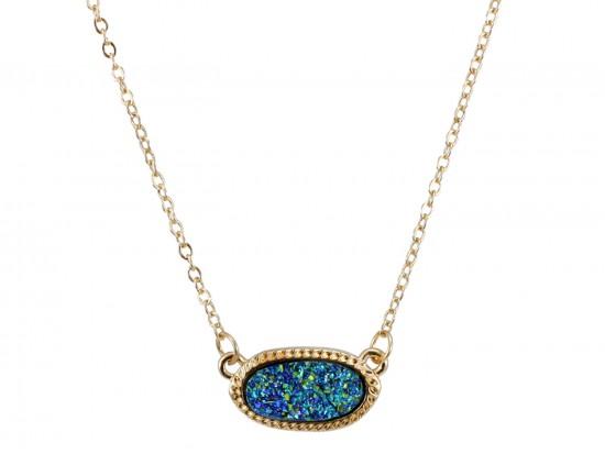 Blue Druzy Oval Pendant Gold Edge Necklace