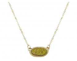 Gold Druzy Oval Pendant Gold Edge Necklace