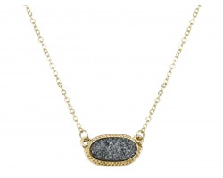 Gray Druzy Oval Pendant Gold Edge Necklace