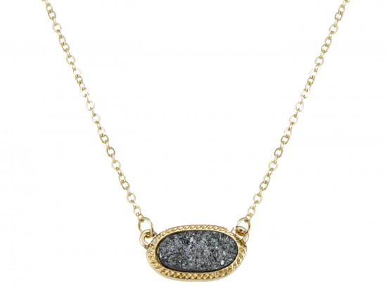 Gray Druzy Oval Pendant Gold Edge Necklace