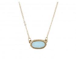 Light Blue Druzy Oval Pendant Gold Edge Necklace