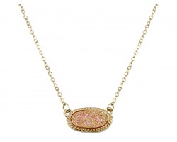 Light Peach Druzy Oval Pendant Gold Edge Necklace