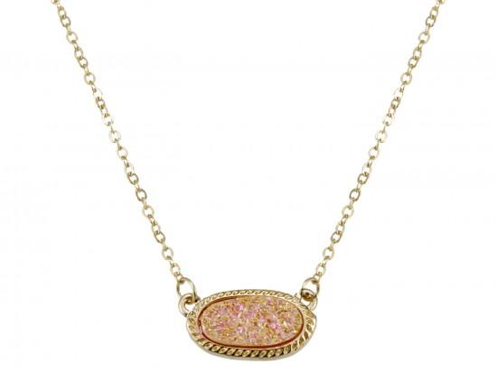 Light Peach Druzy Oval Pendant Gold Edge Necklace