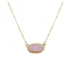 Light Pink Druzy Oval Pendant Gold Edge Necklace