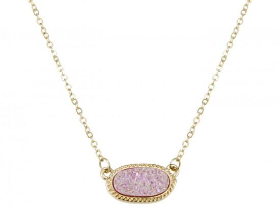 Light Pink Druzy Oval Pendant Gold Edge Necklace