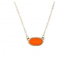 Orange Druzy Oval Pendant Gold Edge Necklace