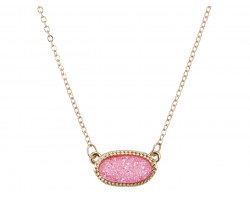 Pink Druzy Oval Pendant Gold Edge Necklace