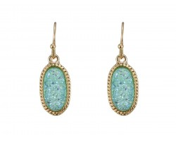 Aqua Druzy Oval Gold Edge Hook Earrings