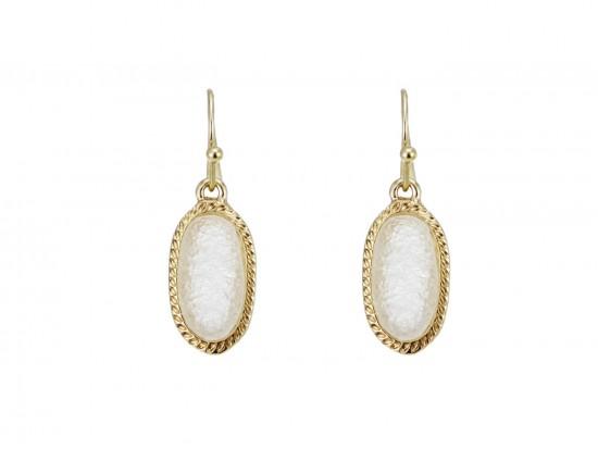 Beige Druzy Oval Gold Edge Hook Earrings