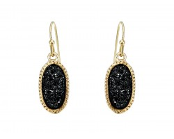 Black Druzy Oval Gold Edge Hook Earrings