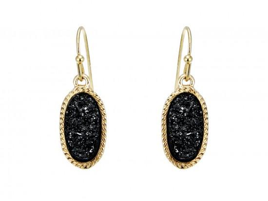 Black Druzy Oval Gold Edge Hook Earrings