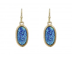 Blue Druzy Oval Gold Edge Hook Earrings