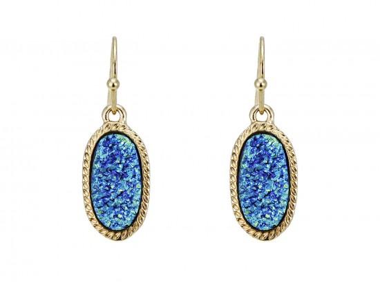 Blue Druzy Oval Gold Edge Hook Earrings