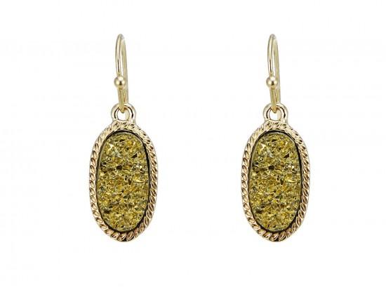 Gold Druzy Oval Gold Edge Hook Earrings