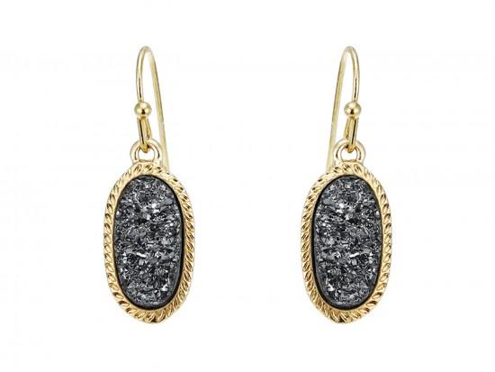 Gray Druzy Oval Gold Edge Hook Earrings