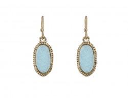 Light Blue Druzy Oval Gold Edge Hook Earrings