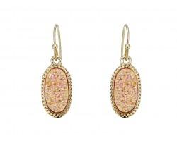 Light Peach Druzy Oval Gold Edge Hook Earrings