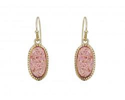 Light Pink Druzy Oval Gold Edge Hook Earrings