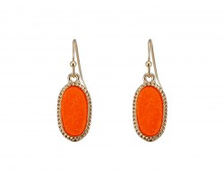 Orange Druzy Oval Gold Edge Hook Earrings