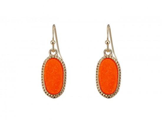 Orange Druzy Oval Gold Edge Hook Earrings