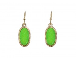 Peridot Green Druzy Oval Gold Edge Hook Earrings