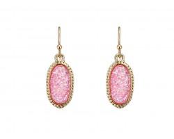 Pink Druzy Oval Gold Edge Hook Earrings