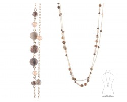 Brown Natural Stone Long Link Chain Necklace