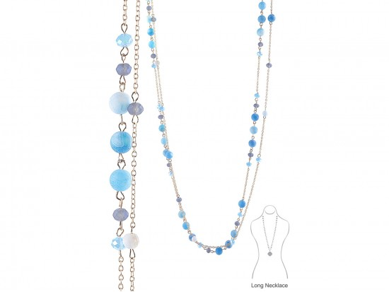 Light Blue Natural Stone Long Link Chain Necklace