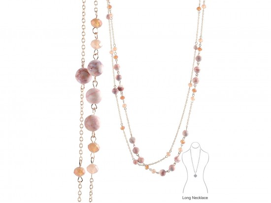 Light Peach Natural Stone Long Link Chain Necklace