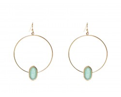 Aqua Druzy Oval Gold Edge Hoop Earrings