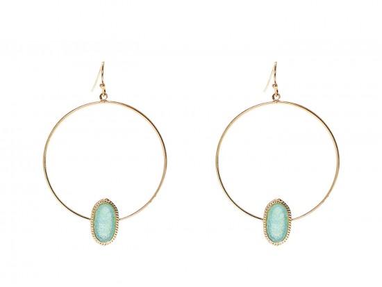 Aqua Druzy Oval Gold Edge Hoop Earrings