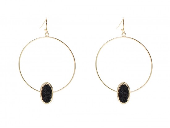 Black Druzy Oval Gold Edge Hoop Earrings