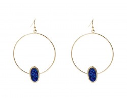 Blue Druzy Oval Gold Edge Hoop Earrings