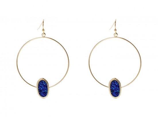 Blue Druzy Oval Gold Edge Hoop Earrings