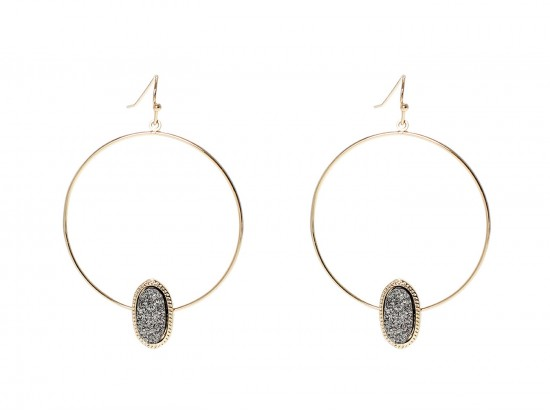 Gray Druzy Oval Gold Edge Hoop Earrings