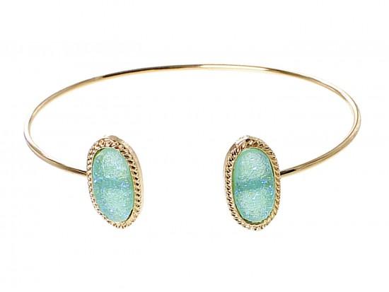 Aqua Druzy Oval Gold Edge Bracelet