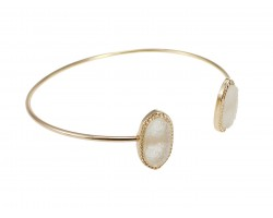 Beige Druzy Oval Gold Edge Bracelet