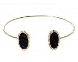 Black Druzy Oval Gold Edge Bracelet