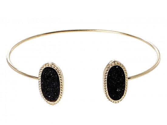 Black Druzy Oval Gold Edge Bracelet