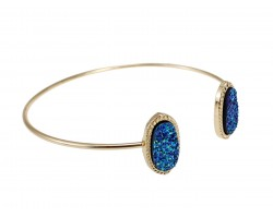 Blue Druzy Oval Gold Edge Bracelet