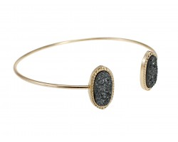 Gray Druzy Oval Gold Edge Bracelet