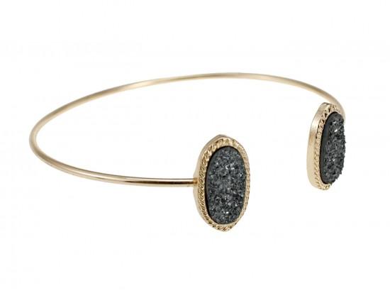 Gray Druzy Oval Gold Edge Bracelet
