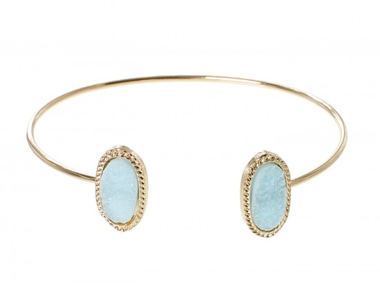 Light Blue Druzy Oval Gold Edge Bracelet