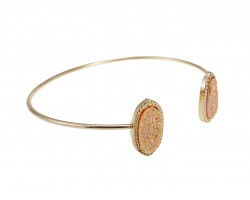 Light Peach Druzy Oval Gold Edge Bracelet