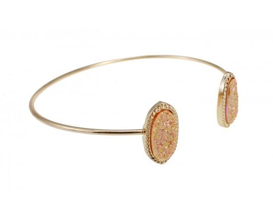 Light Peach Druzy Oval Gold Edge Bracelet