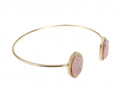 Light Pink Druzy Oval Gold Edge Bracelet