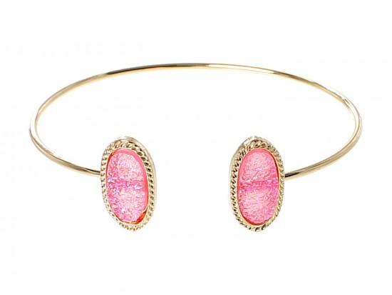 Pink Druzy Oval Gold Edge Bracelet