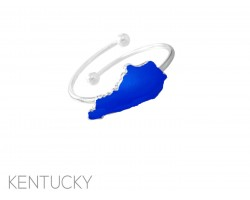 Blue Silver Kentucky State Map Wire Ring